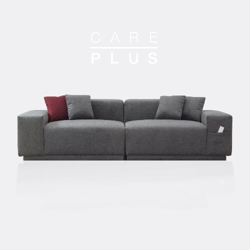 M5 Fabric Sofa_CARE-PLUS Cloudy Gray / 3 seated